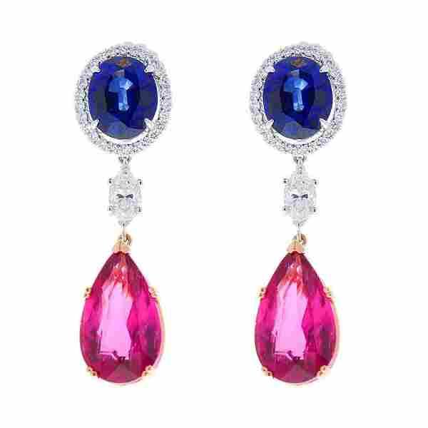 23 Carat Total Pear Shape Rubellite, Marquise Diamond