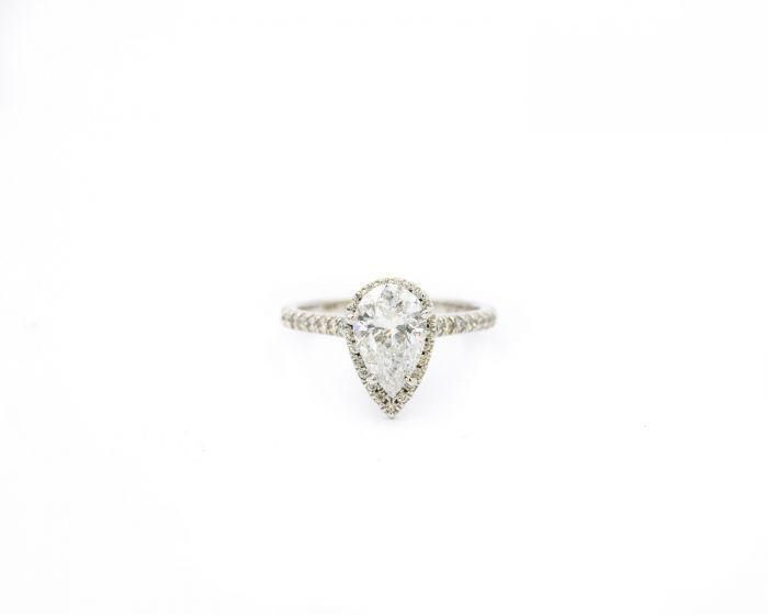 Contemporary White Gold and Diamond Engagement Ring