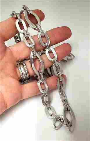 14K WHITE GOLD ITALY LONG OVAL HOLLOW LINK NECKLACE