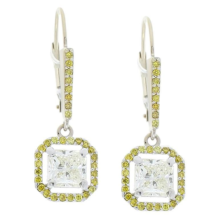 2.52 Carat Total Radiant White and Natural Vivid Yellow