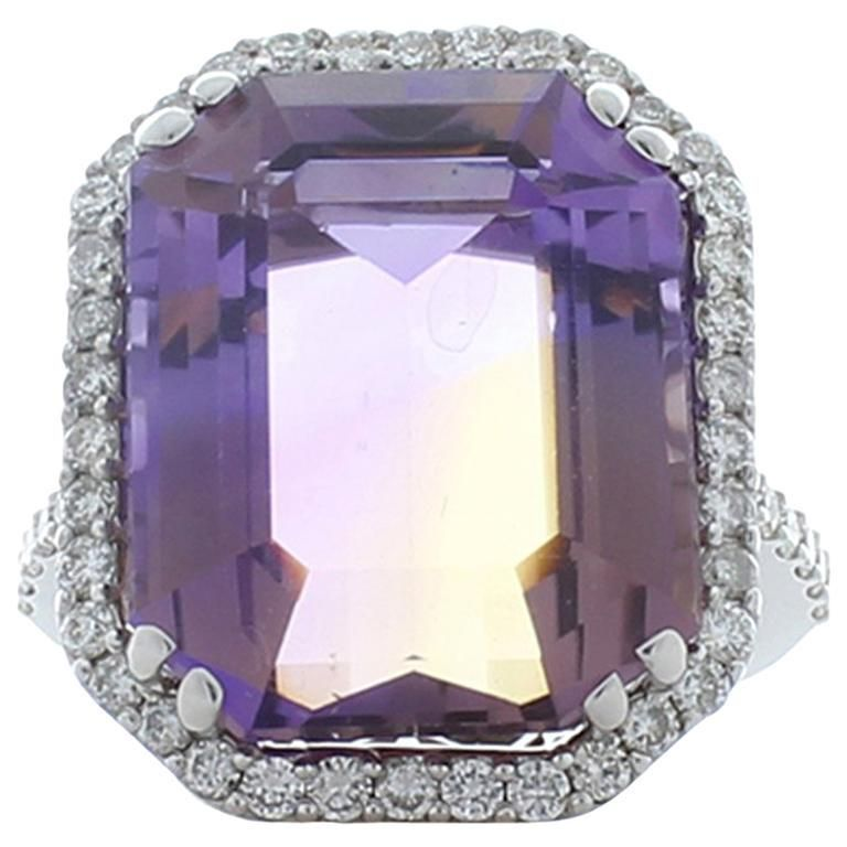 16.37 Carat Ametrine and Diamond Cocktail Ring in 18