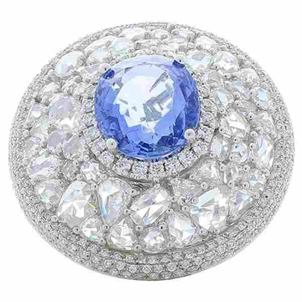 6.25 Carat Oval Blue Sapphire and Rose Cut Diamond