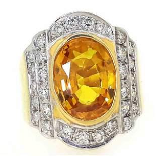 11.48 g 18K Yellow Gold 7.50 cts Sapphire Diamond Ring
