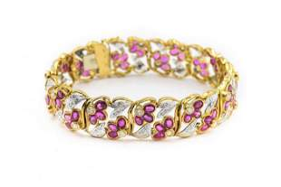 Contemporary Yellow Gold Diamond and Ruby Bracelet