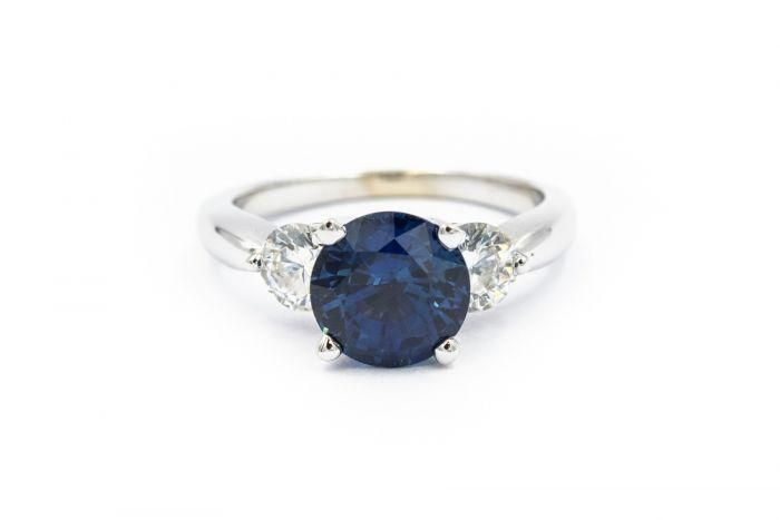Estate White Gold Diamond and Sapphire Ring