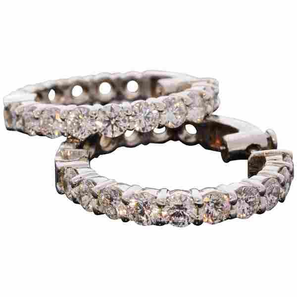 5.02 Carat Total Inside Outside Diamond Hoop Earrings