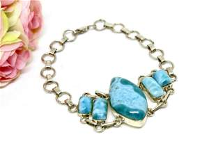 Ocean Blue Larimar Bracelet, Silver 925 Bracelet,