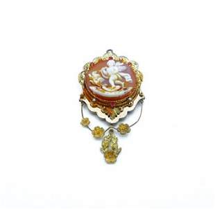 Victorian Yellow and Rose Gold Cameo Pendant