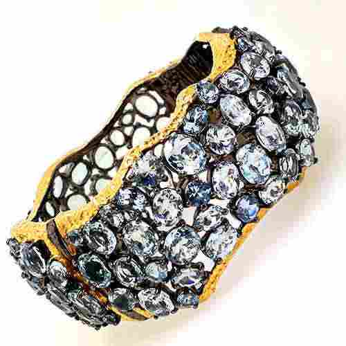 GIA 92.5 Silver Aquamarine Bracelet, Aqua - 110 cts