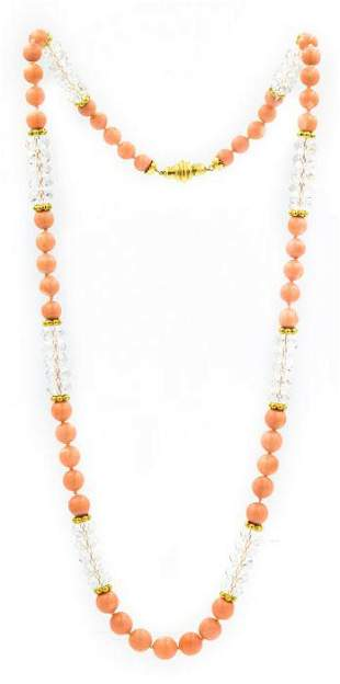Julius Cohen 1970's Yellow Gold Rock Crystal and Coral