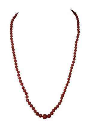 Sardinian Italian Red Coral Bead Necklace