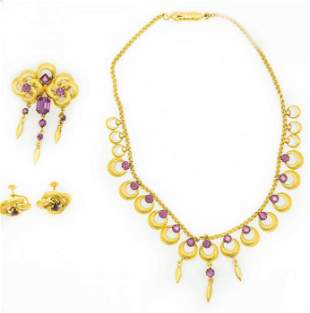 Estate Victorian Portuguese Yellow Gold and Amethyst