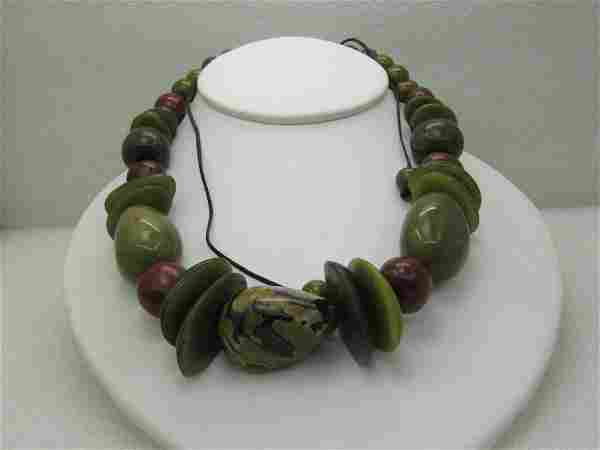 "Beaded Tribal necklace, Sliding Adjustable Length, 27"""