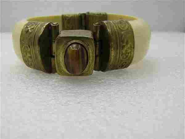 Vintage Tribal Bone-Like Tiger's Eye Cuff Bracelet,