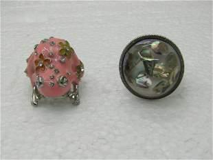 Vintage Pair Stretch Rings, Pink Enameled Frog &