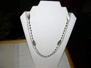 """Vintage Multi Strand Necklace - Outside 42"""" Chain Link,"""