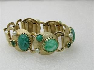 Vintage 1960's Modern Faux Jade & Pearl Bracelet,