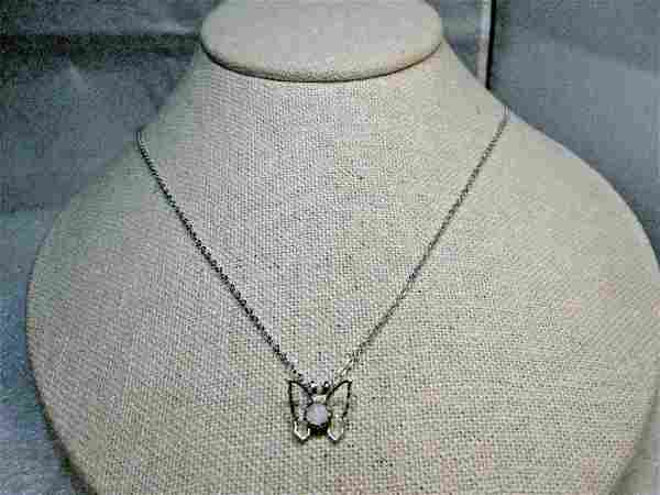 """Vintage Butterfly Necklace, 18"""", silver tone, 1980's"""