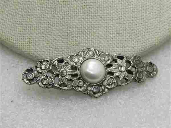 """Vintage Faux Pearl Floral Brooch, 2.5"""""""