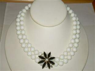 """Vintage Milk Glass Double Strand Beaded Necklace - 54"""","""