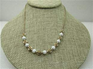 """Vintage White & Gold Beaded Necklace, 17"""", Sarah"""