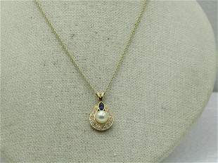 Vintage Roman Faux Pearl & Simulated Sapphire, Clear