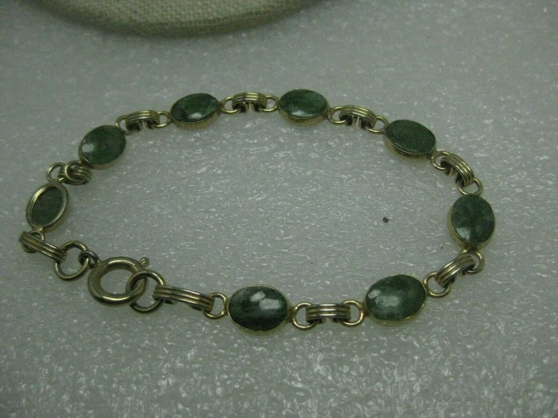 """Vintage GoldTtone Green Agate Bracelet, 7.5"""","""