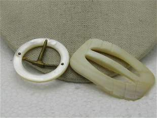 Vintage Early 1900's Mother-of-Pearl Buckles, One