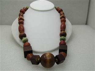 """Vintage Wooden Tribal Style Beaded Necklace, 22"""""""