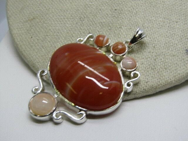 "Tan/Peach Agate/Glass Pendant, Scrolled, 2.5"", Silver"