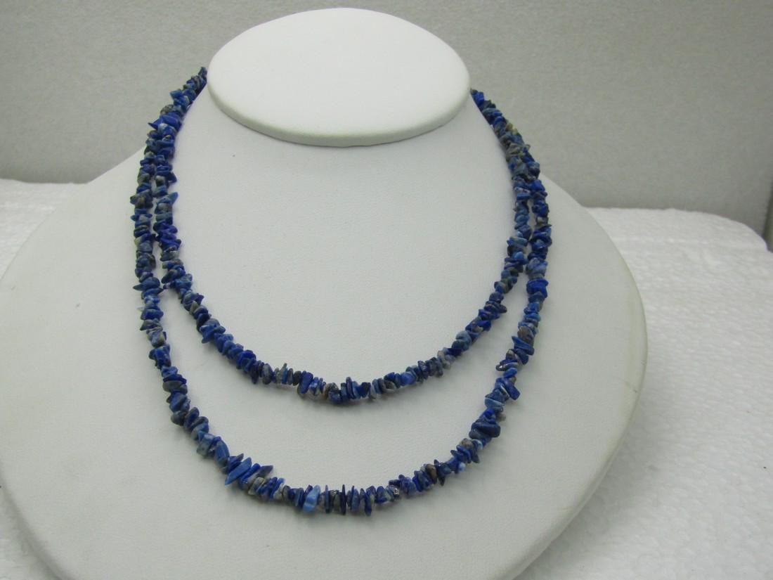 "Vintage Southwestern Polished Sodalite Necklace, 32"","