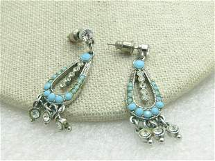 Vintage Southwestern Faux Turquoise Dangle Earrings,
