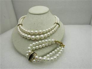 Vintage Graduated Faux Pearl Necklace Bracelet Set,