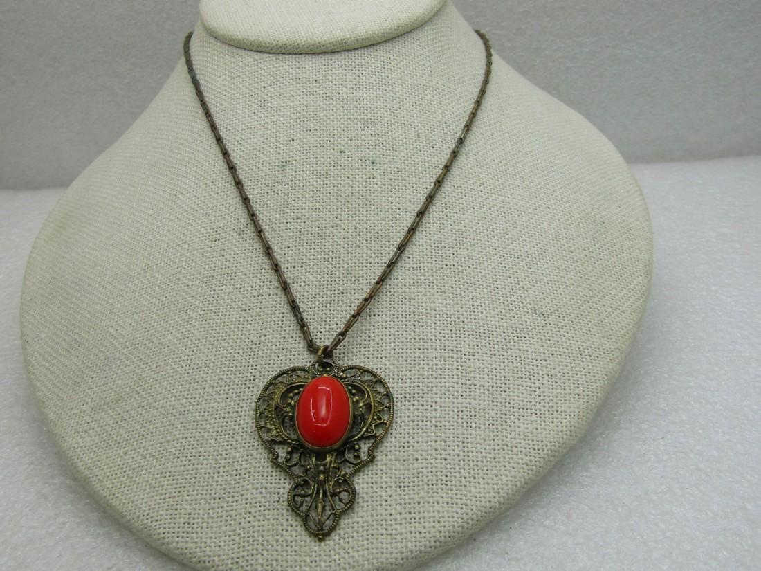 """Vintage Orange Glass Victorian Necklace, Brass, 16.5"""""""