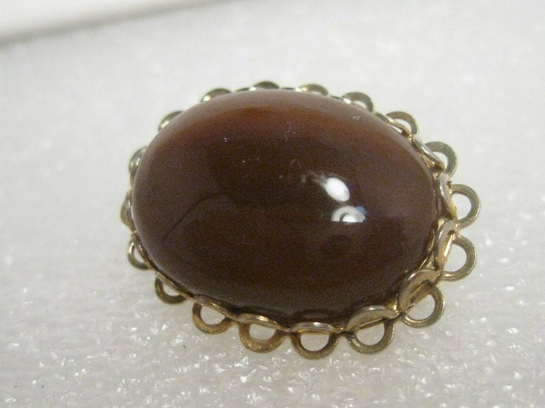 Vintage Gold Tone Polished Amber Agate Brooch, 1970's,