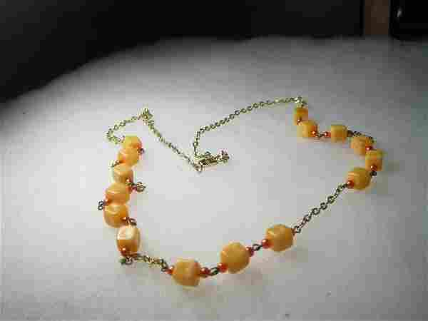 Vintage Orange Square & Orange Pearlized Beaded