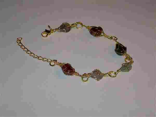 """Vintage Scarab Gold Tone Bracelet - Link Set - 7"""" With"""