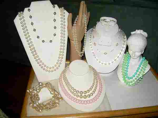 Vintage Lot Of Necklaces - Pearl/Crystal,; Bead For