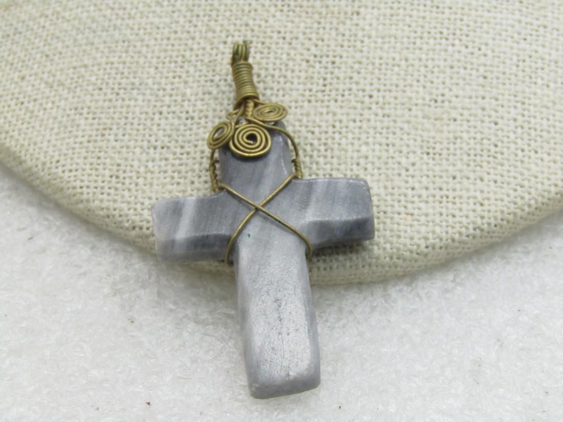 """Gray Stone/Marble Brass Wrapped Cross Pendant, 2"""""""