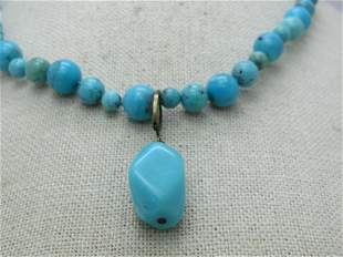 Southwestern Turquoise Beaded Necklace with Sterling