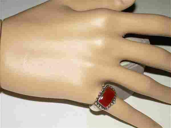 Sterling Reddish Agate Ring - Vintage - Size 6 - 6.25