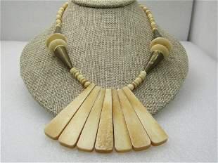 "Vintage Tribal Brass & Bone Bib Necklace, 18.5"", 1960's"