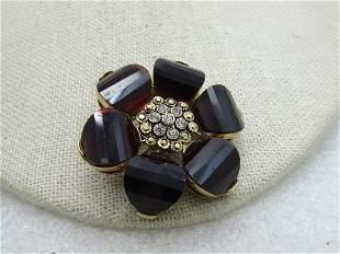 Vintage 10kt G.F. Floral Brooch, Step Cut Faux Garnet