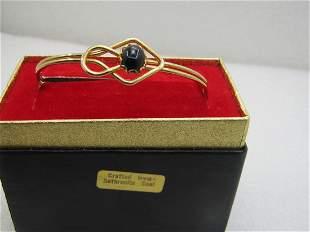 "Vintage Antracite Coal Cuff Bracelet, 6.5"", Doubled"