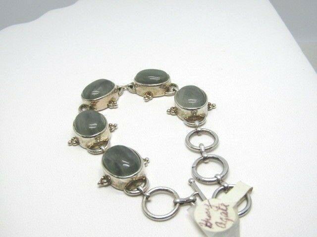 """Southwestern Green Banded Bracelet, Toggle, 8"""", Silver"""