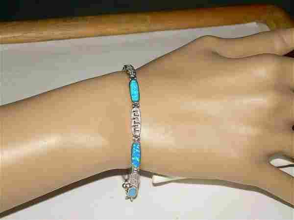 "Vintage Faux Opal Bracelet, 7"" Link With Silver Tone"