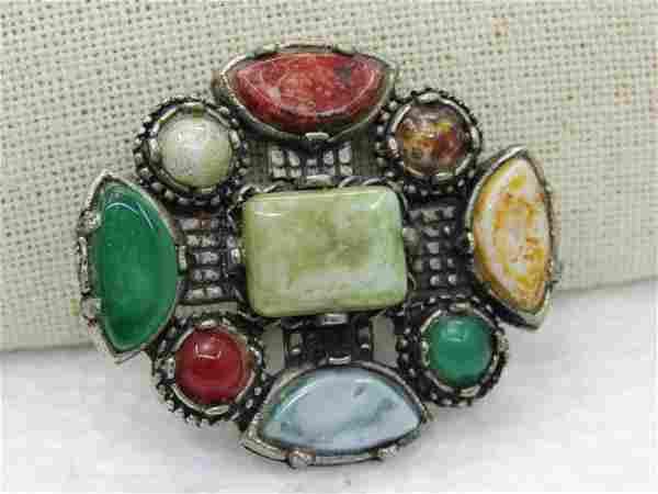 """Vintage Faux Agate Medieval Brooch, 2"""" by 1.75"""""""