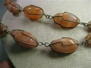 """Vintage Boho Hardstone Wrapped Necklace, 64"""", Amber &"""