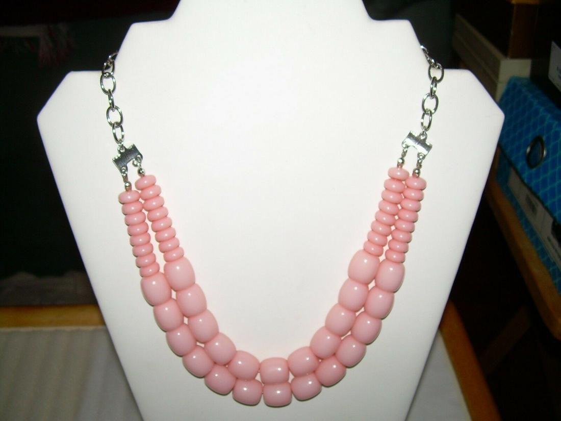 Double Strand Pinkish Beaded Necklace - Vintage - Carol