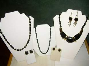 Three Lots Black Bead Jewelry - Necklaces, Earrings\, 1